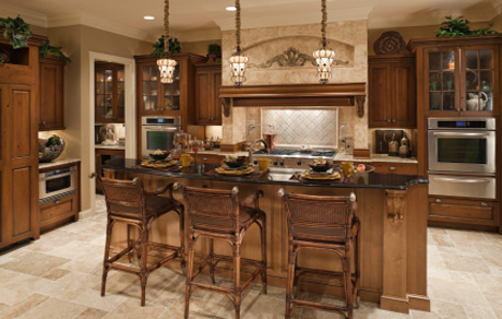 Kitchen with brown walls and white ceiling